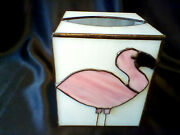 Vintage Art Deco Pink Flamingo Stained Glass Tissue Kleenex Box Cover