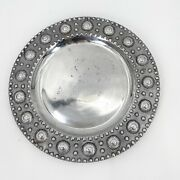 Metal Charger Plate Platter Made In Mexico Silver Tone Round Raised Designs