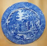Wood And Brettall Blue And White Pearlware Chinese Gardener Dinner Plate C1805-10