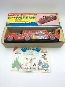 Masudaya Mickey Mouse And Donald Duck Fire Engine Car Tin Japan Vintage Toy Figure