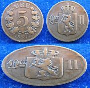 Norway - 1876 +1878+1896+1902+1911 - 5 Ore - 5 Coins Lot