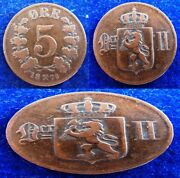 Norway - 1876 +1878+1911 X 2 - 5 Ore - 4 Coins Lot