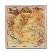 39 X 39 Square World Map Art North South America Tan Brown Rustic Vintage