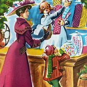 Vintage Mid Century Christmas Greeting Card Victorian Lady Shops General Store