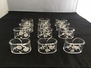 Rare New 12 Reverse Carved Lucite Clear Napkin Rings Floral Theme Daisy
