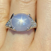 Estate 12.90 Cts Star Sapphire And Diamond Ring In Platinum -- Hm2190ss