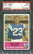 1962 Fleer 80 Paul Lowe Psa 9 San Diego Chargers Hall Of Fame Oregon State