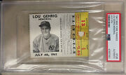 Lou Gehrig 1941 Memorial Game Ticket Stub 7/4/41 Ny Yankees Rare🔥psa Authentic