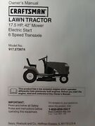 Sears Lt1000 Craftsman 6sp 17.5 42 Lawn Tractor Owner And Parts Manual 917.272674