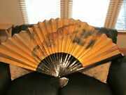 Vintage Chinese Painted Gold Tiger Folding Paper Wall Fan King Size 58 W 34 T