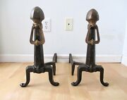 Pair Antique Cahill Iron Works Cast Iron Hammered Andirons Arts And Crafts