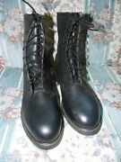 Cove Vintage Menand039s Black Leather Military Steel Toe Boots Size 7.5r Nwob