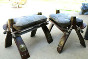 2 Vntg Camel Saddles Footstools Leather Cushions Rawhide Brass Trims 17 X 12