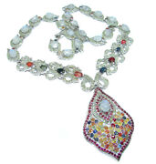 Magnificent Jewel Authentic Multicolor Sapphire Moonstone .925 Sterling Silv