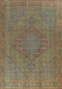 Vintage Geometric Tebriz Overdyed Handmade Area Rug Evenly Low Pile Wool 10and039x13and039