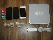 Lot Of 7 Apple Items 3 Ipod Shuffles, 3 Iphones 5c, 4, 5s, 1 Apple Tv - As Is
