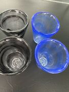 Set Of 4 Kosta Boda Mine Glasses, Black And Blue Never Been Used, No Box