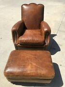 Vintage National Upholstering Company Crocodile Couch With Ottoman