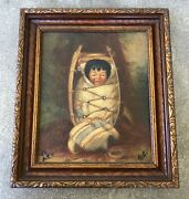 Old Portrait Of A Native American Baby Oil Painting On Canvas Board / Signed