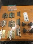 Lot Of Old Antique Vintage House Door Hinges, Knobs, And A Plate 1030