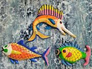 Mexican Folk Art Paper Mache Fish Colorful Whimsical Artisan Vintage Set Of 3