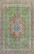 Antique Green Overdyed Tebriz Area Rug Evenly Low Pile Oriental Handmade 9and039x13and039
