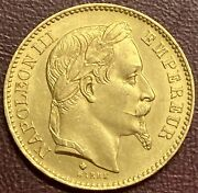 France - Napoleon Iii 20 Francs Gold Coin, Strasbourg - 1866 Bb Gy10