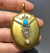 Natural Pearl And Turquoise And Rose Cut Diamond Locket In 18k Gold
