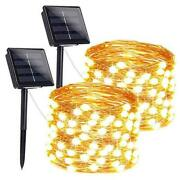 2-pack 200 Led Ultra-bright Outdoor Solar String Lights Waterproof Warm White