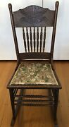 Antique Victorian Pressed Back Rocking Chair With Spindles