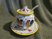 Vintage Rooster And Roses Early Provincial Jam Jelly Sugar Jar Spoon - Japan
