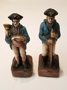 Vintage Antique Lot Of 2 Plaster Soliders Revolutionary War Colonial Statues 16
