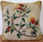 Vintage Asian Style Hand Embroidered Wool Crewel Needlepoint Throw Pillow 12