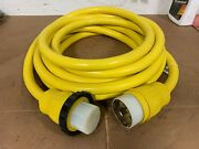 125v 50a X 25and039 Marine Shore Power Boat Cord Yellow 125 Volt 50 Amp