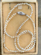 Antique 14k Gold Natural Pearl Graduated Bead Necklace