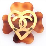 Authentic Secondhand Coco Mark 95p Brooch Gp Gold Free Shipping No.1046