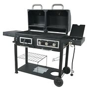 Charcoal Gas Grill Bbq Dual Fuel Combination Portable Barbecue Outdoor Propane