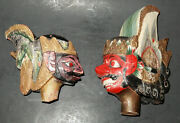 Set Of 2 Antique Chinese India Thai Hand-carved Wood Puppet Marionette Heads