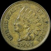 1901 1c Indian Head Cent Rpd Repunched Date Au+ Rare Old Type Coin Penny