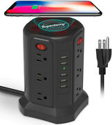 12 Outlet Plugs 5usb Power Strip Tower Surge Protector Wireless Charging Station