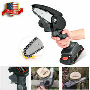 Electric Chain Saw Cordless Wood Cutter Mini One-hand Saw Woodworking + Battery