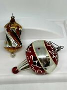 Antique Lot 2 German Jumbo Top And Apple Core Glass Christmas Ornaments