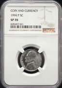1994-p Jefferson Nickel Ngc Sp70 Ex. Coin And Currency Set