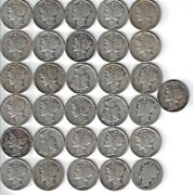 Mercury Dime Assorted Lot Of 31 Silver Dimes