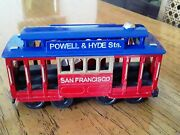 San Francisco Cable Car Powel And Hyde Red ☆ Blue 4.75 Diecast Metal Toy Model