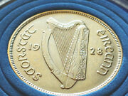 About Uncirculated 1928 Silver Ireland Florin. High Grade Salmon And Harp W Holder