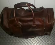 The British Belt Co. Brown Leather Large Weekend Carryon Duffel Bag