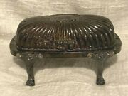 Fb Rogers Silver Co Rolltop Glass Insert Butter Dish Claw Feet Domed Hinged Top