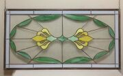 44.5 Old Leaded And Copper Stained Glass Window Art Decor Green Yellow White