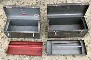 2 Vintage Craftsman Tool Boxes - Crown Logo/grey Tray And Sears Logo/red Tray